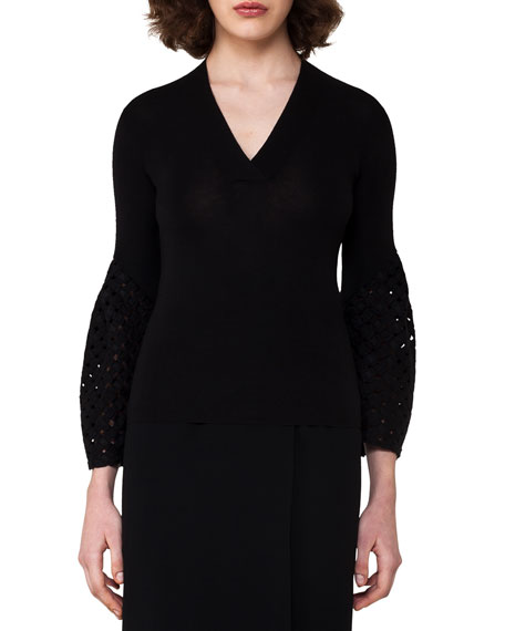 Bell-Sleeve Cashmere-Silk Pullover, Black