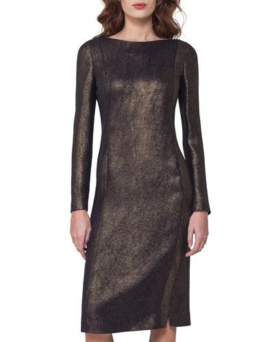 Long-Sleeve Metallic Cocktail Dress, Black