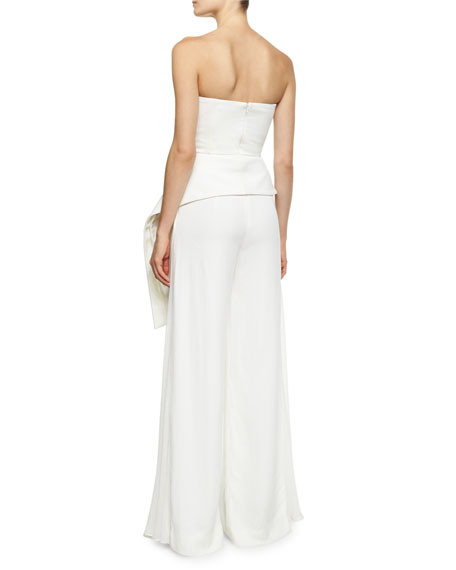 Amina Strapless Bustier Peplum Top with Draped Hem, White