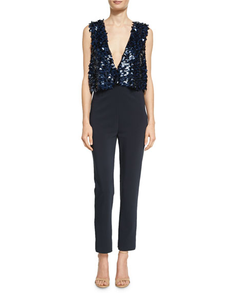 Marie Sequined Plunging V Jumpsuit
