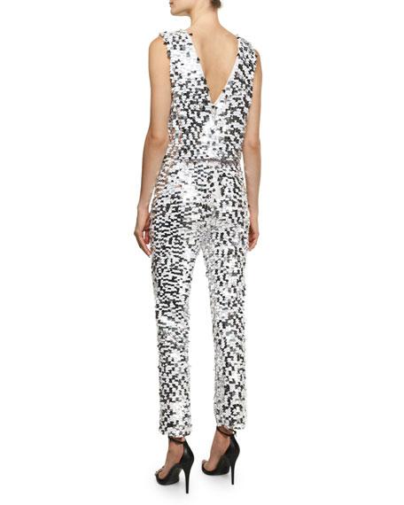 Caroline Sequined Crop Jumpsuit, White