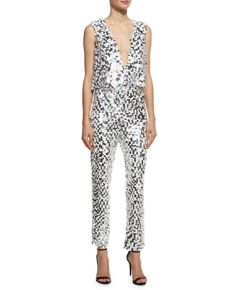 Cushnie Et Ochs Caroline Sequined Crop Jumpsuit, White