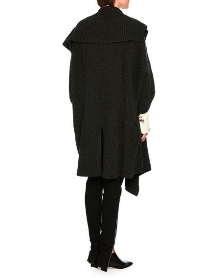 Oversized Virgin Wool Sweater Cape, Dark Gray