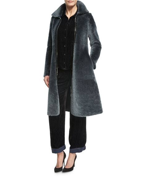 Armani Collezioni Reversible Shearling Fur Princess Coat, Dark