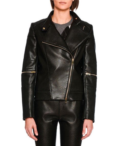 Stella McCartney Victoire Faux-Leather Moto Jacket, Black