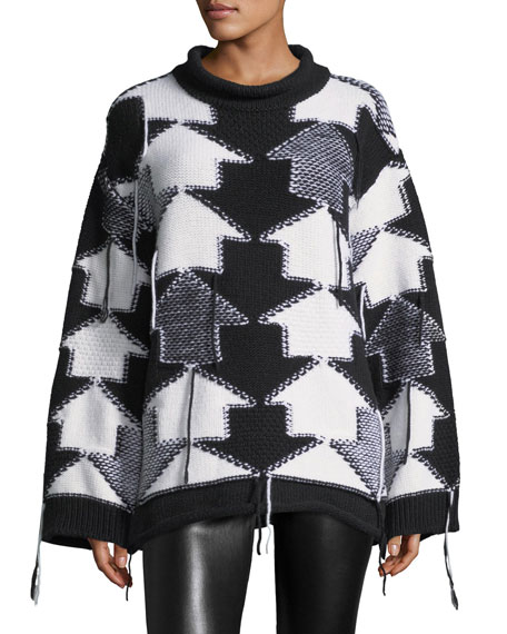 Oversized Arrow Checkerboard Sweater, White/Black