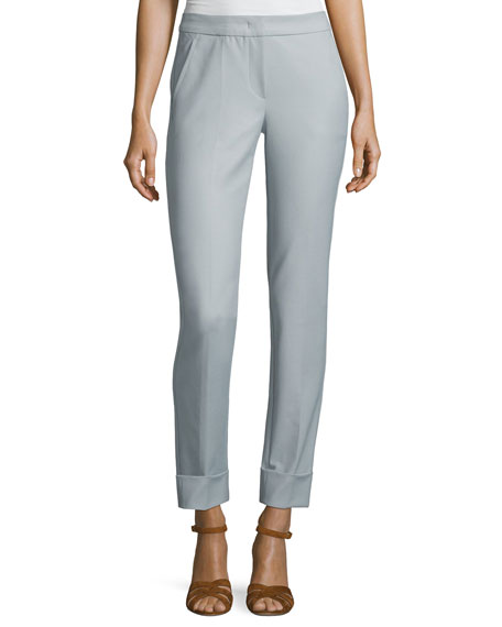 Armani Collezioni Tech-Stretch Cuffed Straight-Leg Pants, Blue