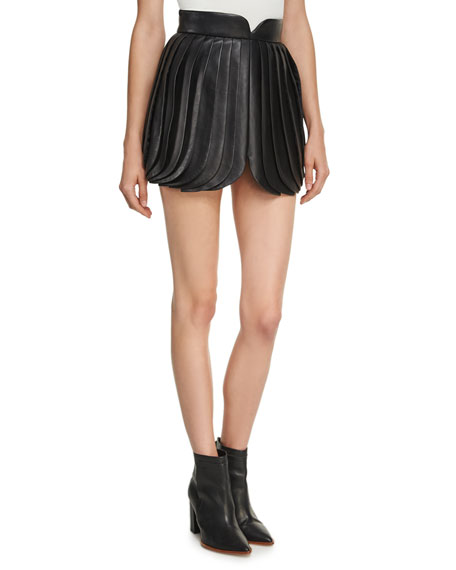 Brandon Maxwell High-Waist Leather Petal Skirt, Black and