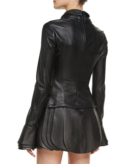 Leather Top with Petal Collar & Cuffs
