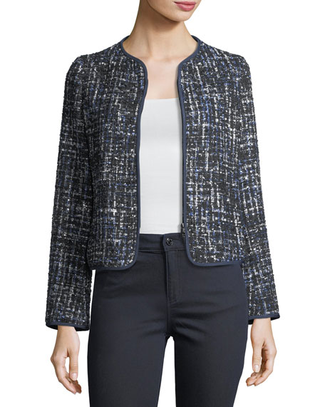 Armani Collezioni Lurex Tweed Zip-Front Jacket