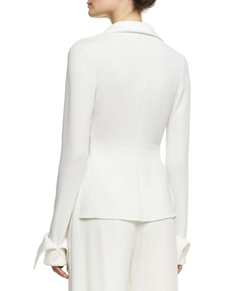 Crepe Blouse with Wide Cuffs, Ivory