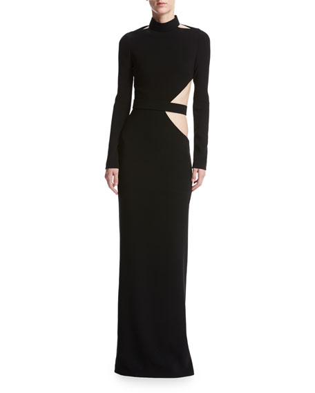 Brandon Maxwell Long-Sleeve Crepe Cutout Gown, Black