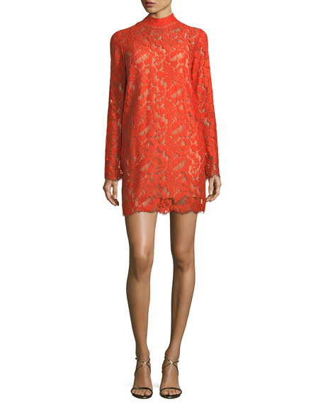 Stella McCartney Cayla Long-Sleeve Lace Handkerchief-Hem Dress