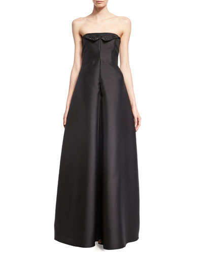 Crystal-Embroidered Strapless Evening Gown, Black