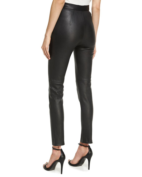 Leather Cigarette Pants, Black