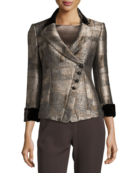 Armani Collezioni Jacquard Asymmetric-Button Jacket, Neutral