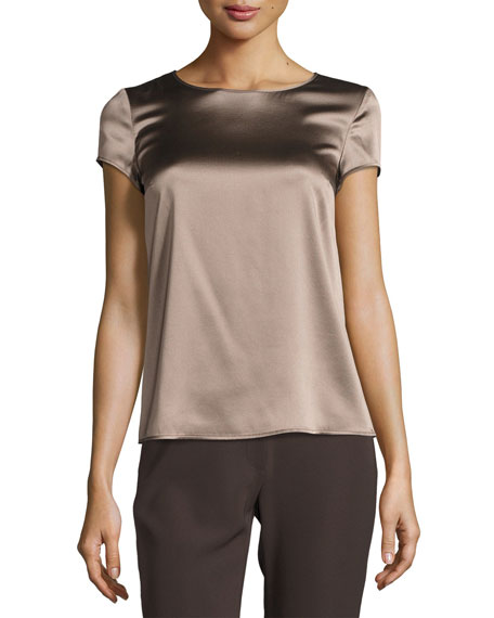 Stretch-Satin Cap-Sleeve Top, Dark Beige