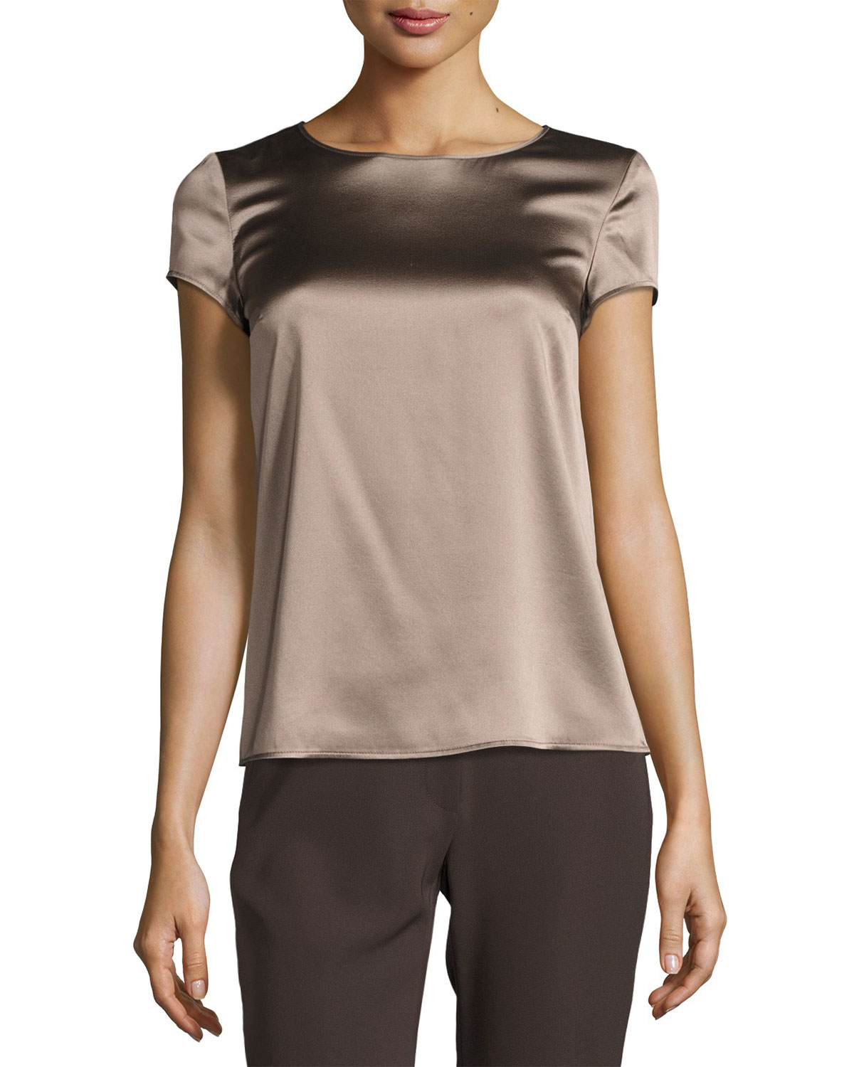 2b059bff2c0 Armani Collezioni Stretch-Satin Cap-Sleeve Top