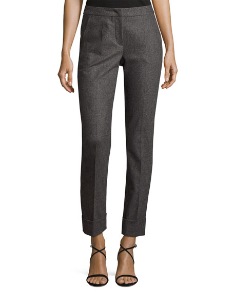 Armani Collezioni Flannel Cashmere-Blend Slim Cuffed Pants, Gray