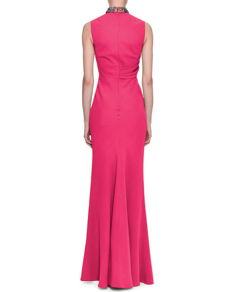 Sleeveless Column Gown with Embellished Halter Neck, Rose