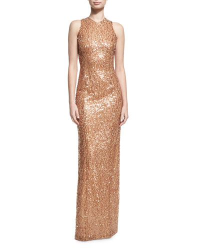 Sequined Racerback Column Gown, Medium Brown