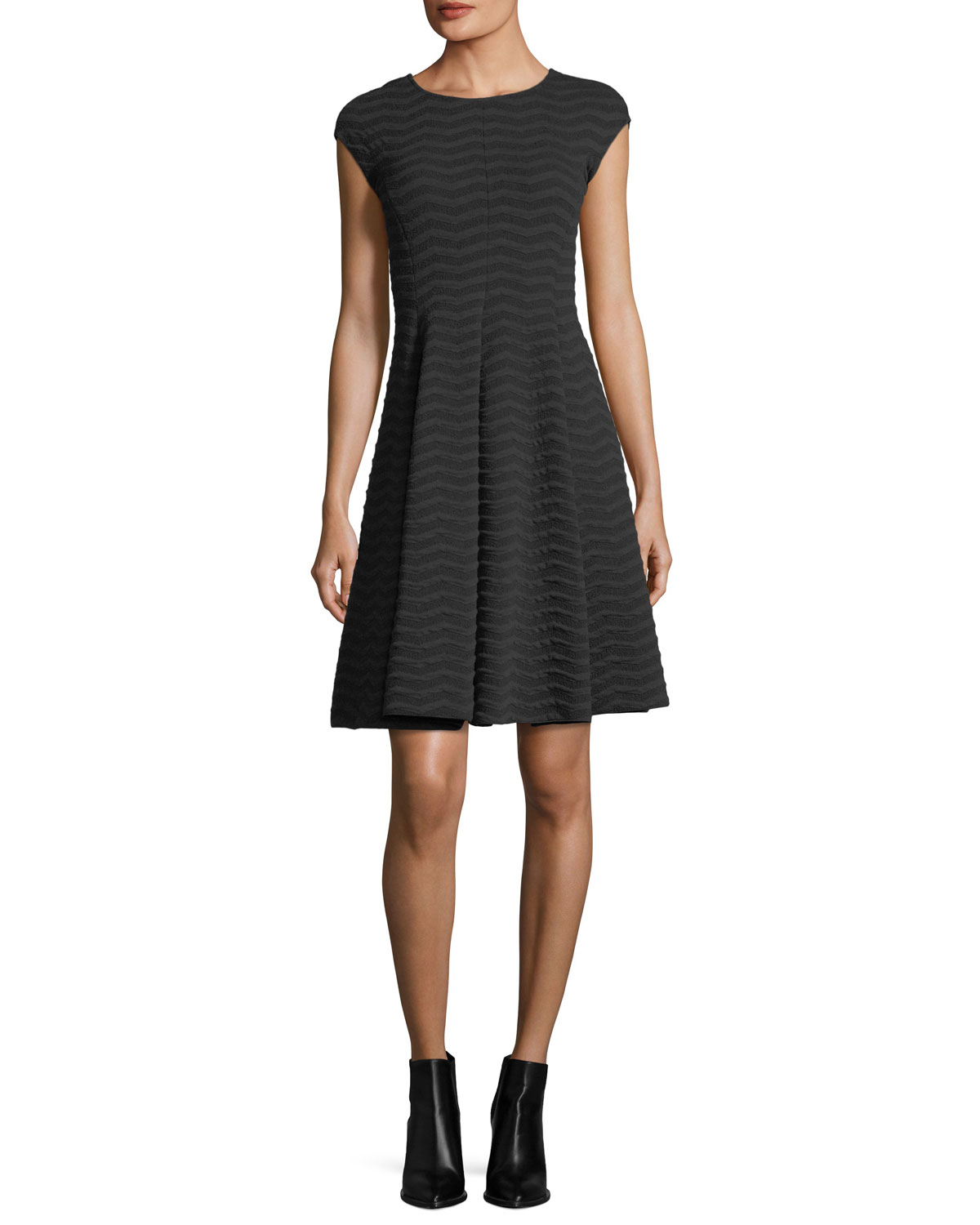 096d33b65ee Armani Collezioni Cap-Sleeve Wave Jacquard Dress