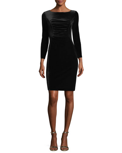 Ruched Stretch Velvet Dress