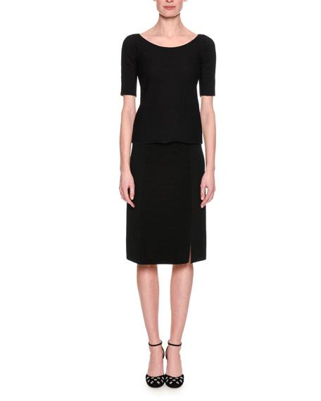 Ottoman Knit Slim Pencil Skirt, Black