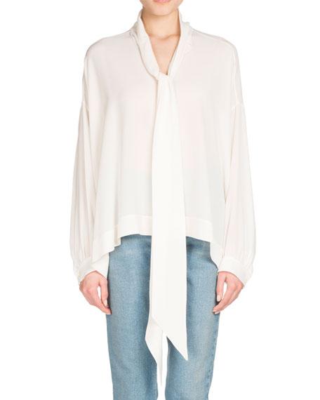 Balenciaga Long-Sleeve Silk Tie-Neck Top