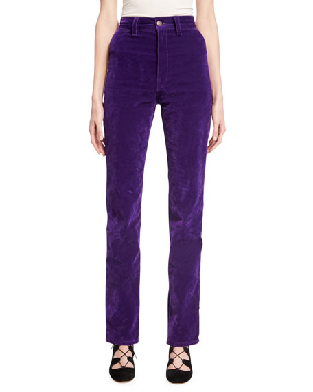 Marc Jacobs Velvet High-Rise Disco Jeans, Purple