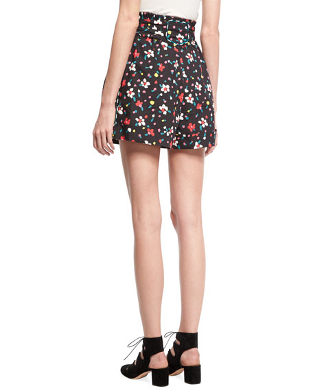 High-Waist Painted Flower Shorts, Black
