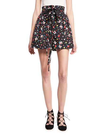 Marc Jacobs High-Waist Painted Flower Shorts, Black
