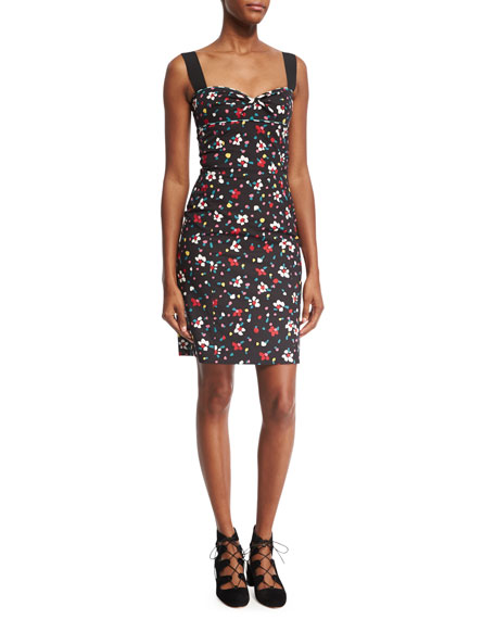 Marc Jacobs Painted Flowers Fitted Sleeveless Minidress, Black