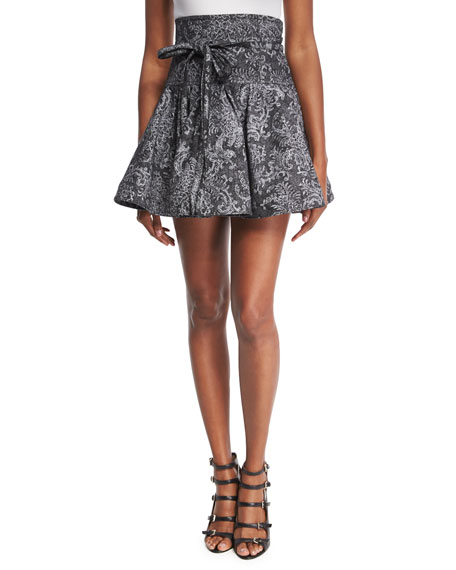 Marc Jacobs Lace-Print High-Waist Denim Ruffle Skirt, Black