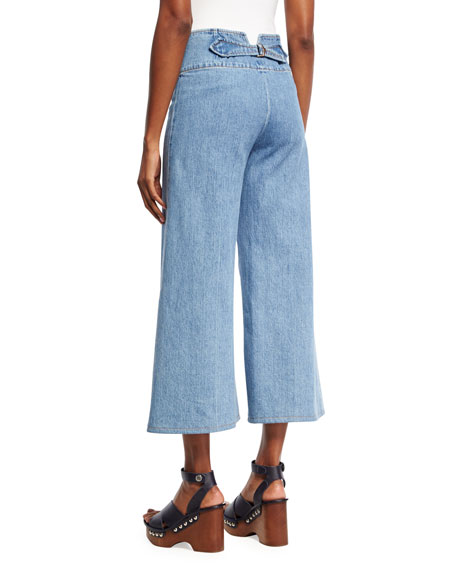 Marc Jacobs High-Waist Wide-Leg Cropped Jeans, Indigo