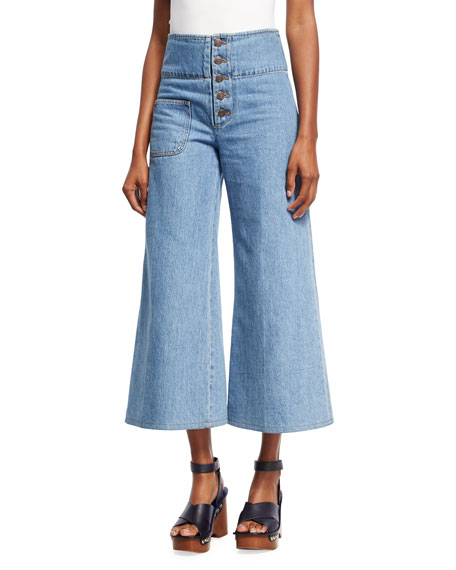 Marc Jacobs High-Waist Wide-Leg Cropped Jeans, Indigo and