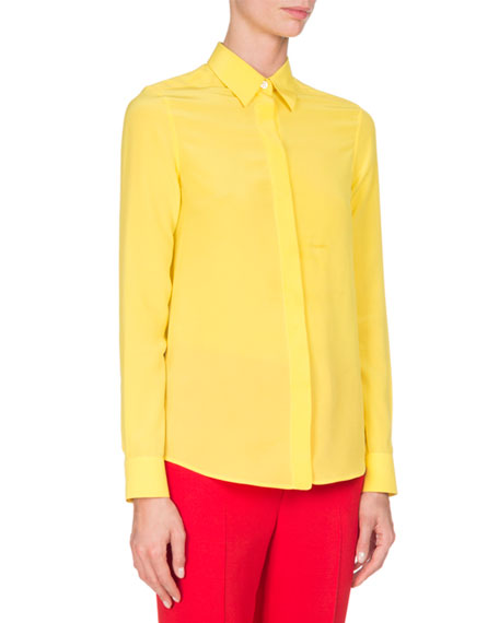 Givenchy Crepe de Chine Blouse, Yellow