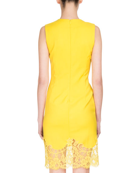 Sleeveless Lace-Hem Sheath Dress, Yellow