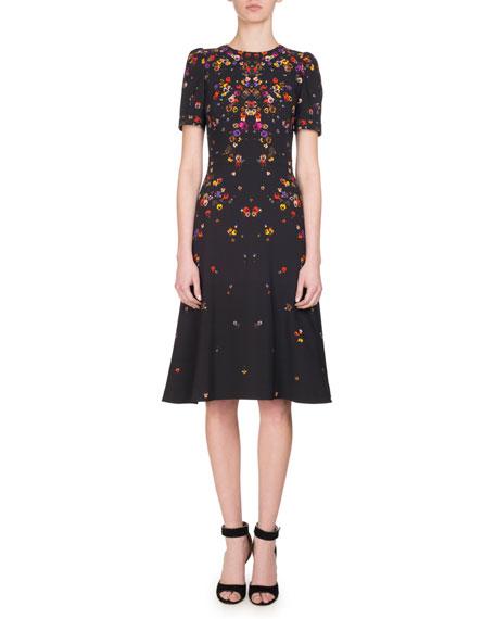 Givenchy Anna Pansy-Print Midi Dress, Multi