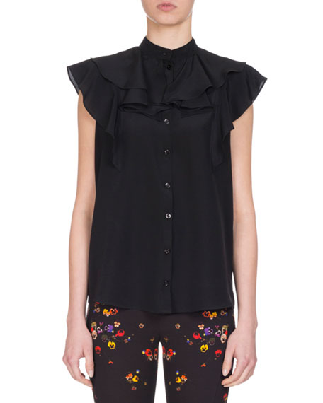 Givenchy Crepe de Chine Ruffle-Neck Top, Black