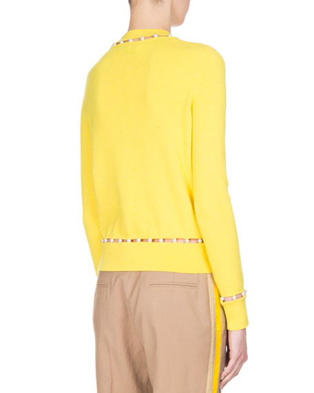 Pearly-Embellished Sweater, Yellow