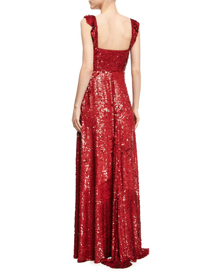 Sleeveless Sequined Silk Sweetheart Gown, Red