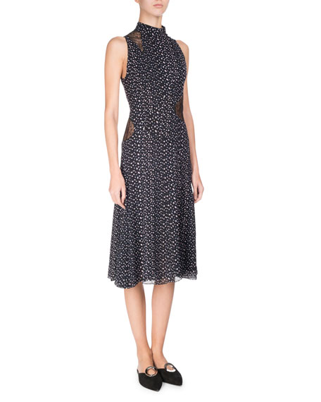 Proenza Schouler Sleeveless Mock-Neck Leopard-Print Dress, Multi