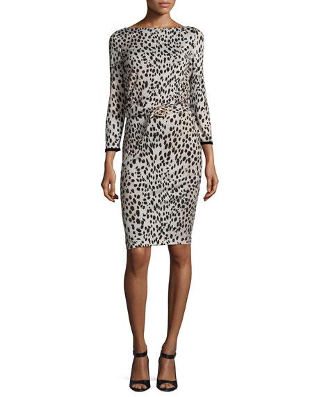 Roberto Cavalli Belted Long-Sleeve Cheetah-Print Dress, Neutral