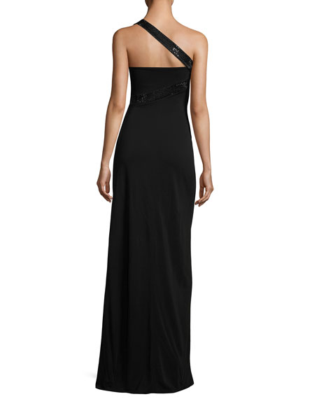Sequined One-Shoulder Jersey Gown, Black