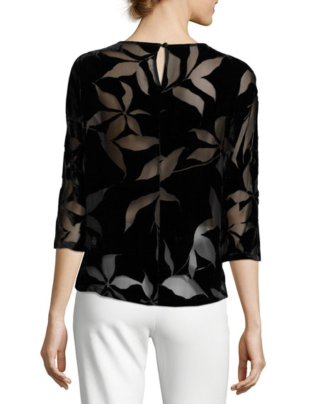 Floral Burnout Velvet Blouse, Black