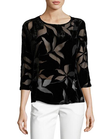 Floral Burnout Velvet Blouse, Black