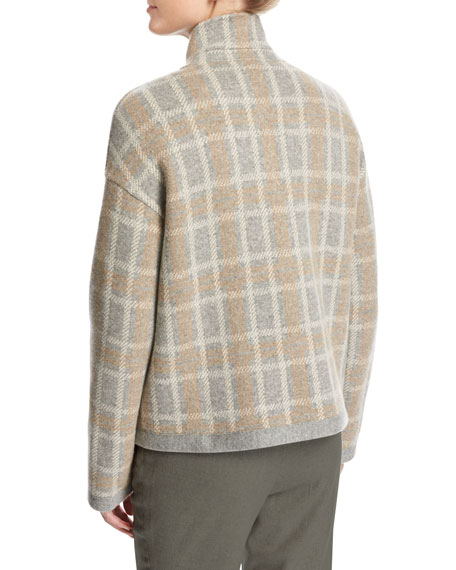 Leroy Reversible Plaid Mélange Flannel Double-Breasted Jacket, Beige
