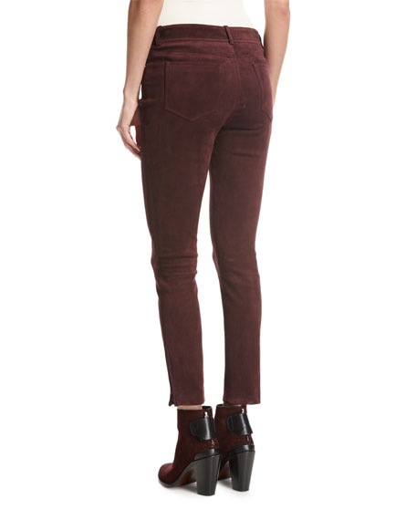 Mathias Suede Ankle-Zip Pants