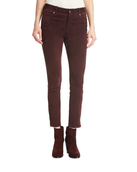 Loro Piana Mathias Suede Ankle-Zip Pants